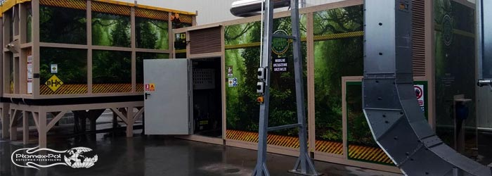 Kotłownia kontenerowa MUG980 + 2x ruchoma podłoga w mobilnych kontenerach hakowych na biomasę