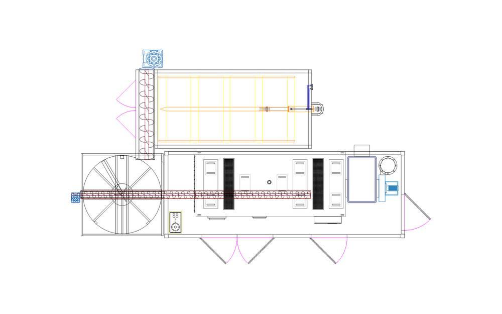 kotłownia kontenerowa, kocioł, zbiornik buforowy, podajniki ślimakowe, magazyn paliw stałych